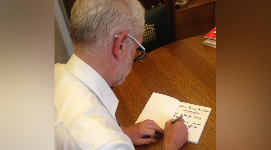 Corbyn trolls May's call for cross-party collaboration by sending autographed Labour manifesto