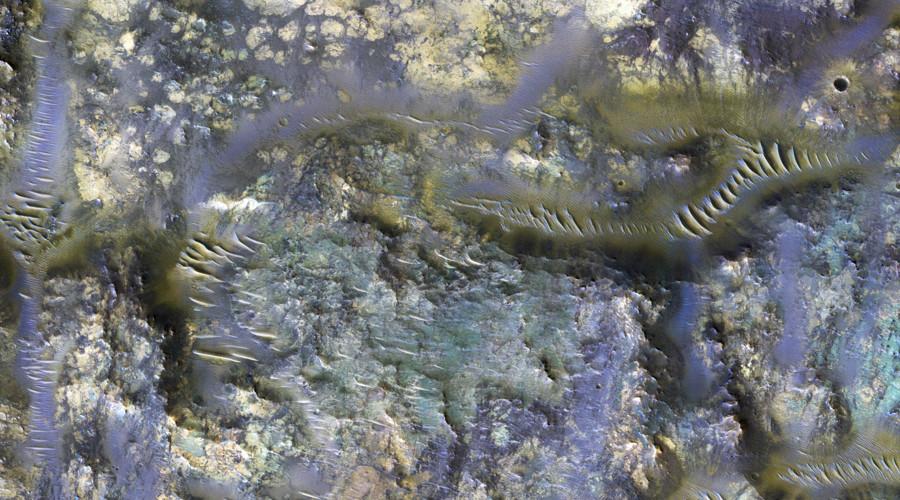 Martian technicolor worms? NASA reveals incredible snap of Mars crater