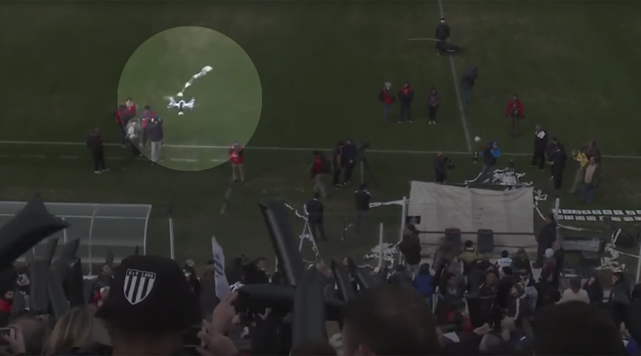 Soccer fans use toilet roll to take down drone in Argentina (VIDEO)