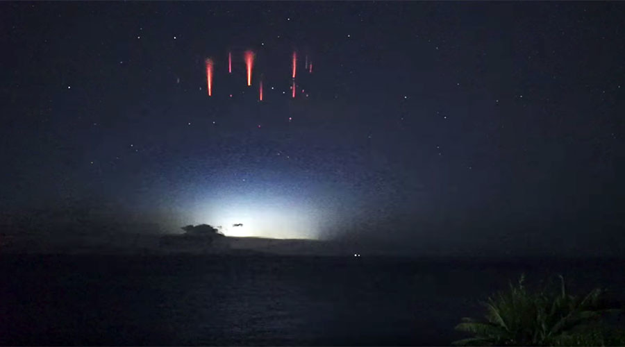 Aussie astronomer captures rare footage of 'upside down' lightning sprites (VIDEO)