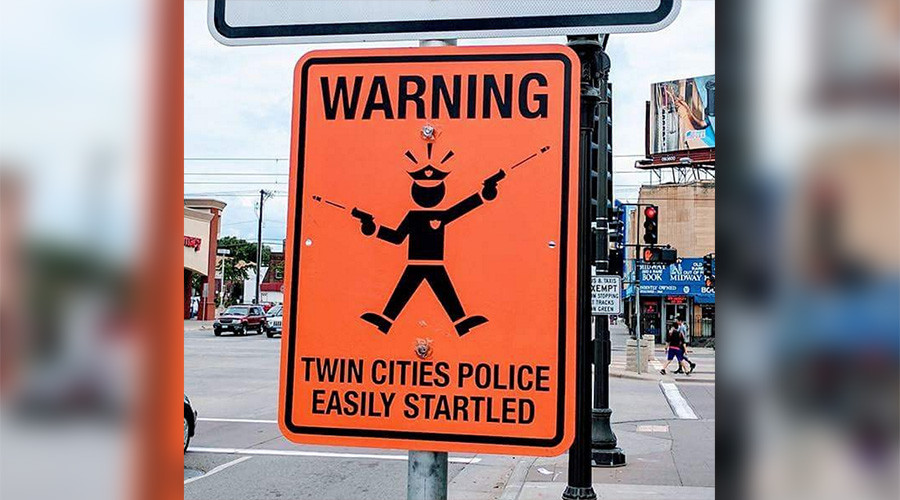 'Police easily startled': Warning signs erected near spot of fatal Minneapolis shooting