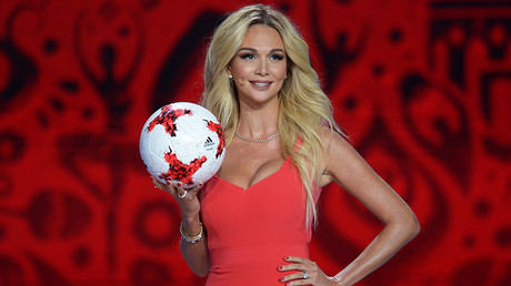 Model and TV hostess Viktoriya Lopyreva during the official draw ceremony of the FIFA Confederations Cup Russia 2017. © Grigoriy Sisoev