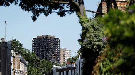 Grenfell Tower, destroyed in a catastrophic fire, is seen from another area of the Royal Borough of Kensington and Chelsea, in London, Britain July 2, 2017. © Peter Nicholls