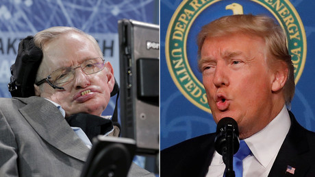 Physicist Stephen Hawking and U.S. President Donald Trump © Reuters