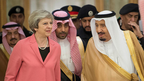 British Prime Minister Theresa May and Saudi Arabia's King Salman bin Abdulaziz Al Saud. © Saudi Royal Court