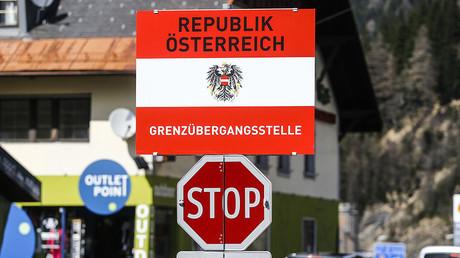 FILE PHOTO. A border sign reading