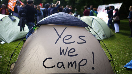 Activists from ATTAC organisation set up a camp as they protest ahead of the upcoming G20 summit in Hamburg, Germany, July 4, 2017. ©Hannibal Hanschke
