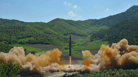 The intercontinental ballistic missile Hwasong-14 is seen during its test launch. © KCNA
