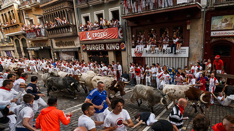 Bull-run festival in Pamplona, Spain