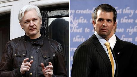 WikiLeaks founder Julian Assange (L), Donald Trump Jr. (R). ©Reuters