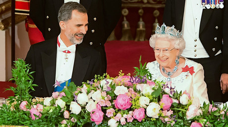 Queen Elizabeth II and King Felipe VI of Spain during the State Banquet at Buckingham Palace, London for the King's State Visit to the UK Wednesday July 12, 2017 © Dominic Lipinsk