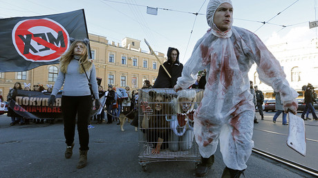 FILE PHOTO: Animal rights activists stage a performance during an anti-fur march in St. Petersburg © Alexander Demianchuk