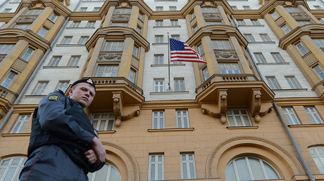FILE PHOTO: A Russian police officer patrols a street in front of the US Embassy in Moscow © Kirill Kudryavtsev