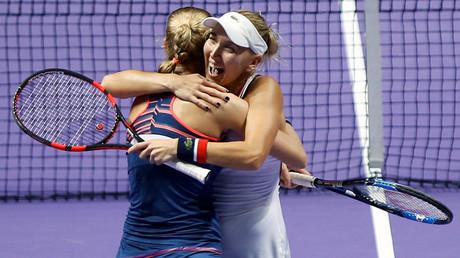 FILE PHOTO: Ekaterina Makarova and Elena Vesnina at Singapore WTA Finals Doubles Finals © Edgar Su