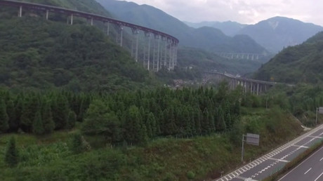 Drone footage of world's longest highway bridge dubbed 'roller coaster' in China