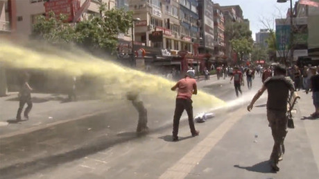 Turkish police use water cannon, pepper spray at protest over imprisoned teachers