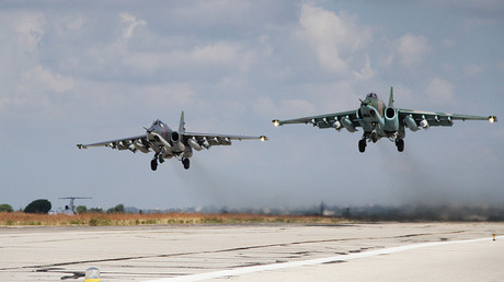 Russian Su-25 attack aircraft take off from the Khmeimim airbase in Syria © Dmitriy Vinogradov
