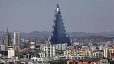 The 105-storey Ryugyong Hotel, the highest building under construction in North Korea, is seen in Pyongyang © Bobby Yip