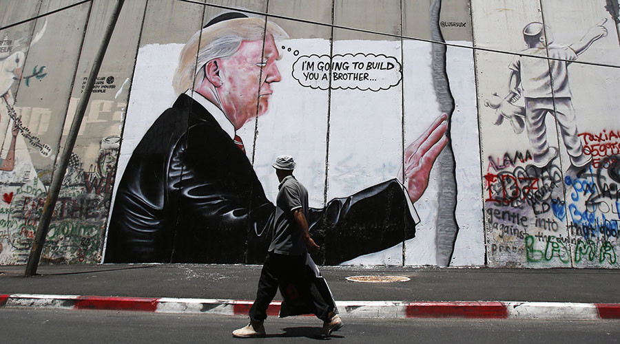 New Banksy? 'Yuge' anti-Trump murals appear on West Bank separation wall