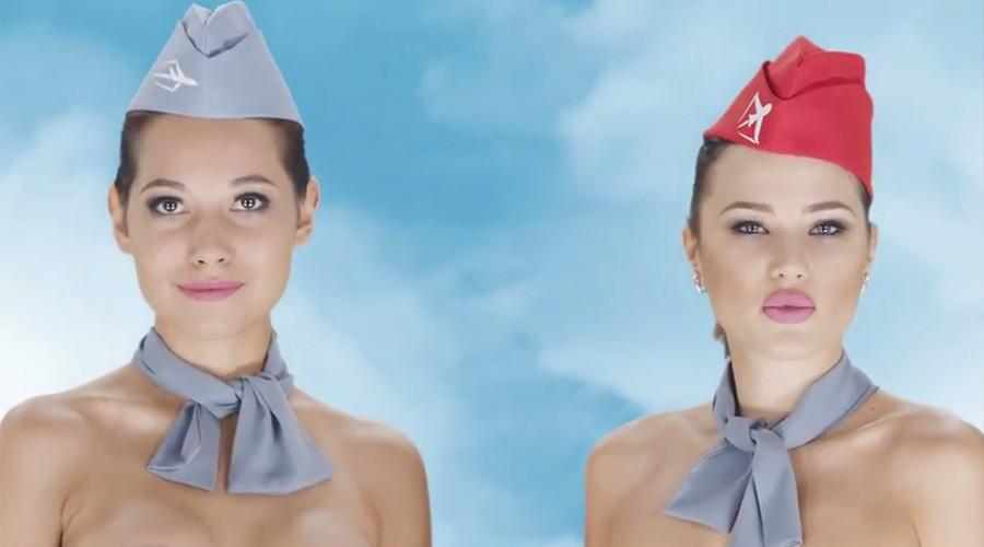 Naked flight attendants in Kazakh travel company ad stir online debate (VIDEOS)