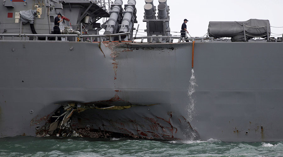 5 injured, 10 missing after US destroyer USS John S McCain collides with oil tanker off Singapore