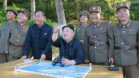 North Korean leader Kim Jong Un inspects the intermediate-range ballistic missile launch test, May 22, 2017 © KCNA