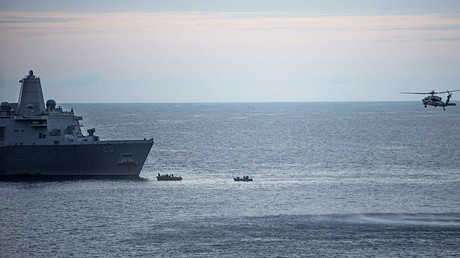 Search efforts for three U.S. Marines missing after their MV-22 Osprey tilt-rotor aircraft crashed into the sea off Australia's northeast coast on August 6, 2017 © Sarah Villegas