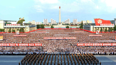 A general view shows a Pyongyang city mass rally held at Kim Il Sung Square on August 9, 2017 © Reuters