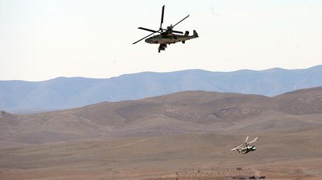 A Kamov Ka-52 Hokum-B attack helicopter hits targets in Syria © Mikhail Voskresenskiy