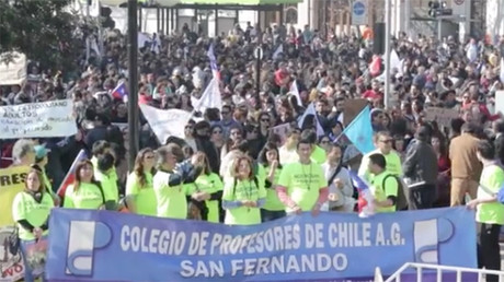 Chilean teachers march in Santiago amidst national strike
