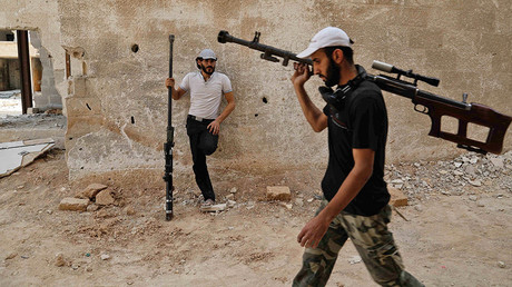 Syrian rebel fighters in the eastern Ghouta area July 20, 2017. 