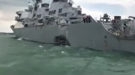 First images of damaged & flooded 'USS John S. McCain' after collision with oil tanker (VIDEO)