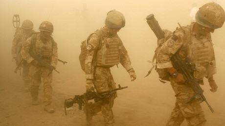 FILE PHOTO: British soldiers from B Company, 2 Mercian, set off on an operation in Malgir, Helmand province. © Omar Sobhani