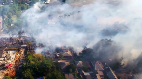 Drone footage shows massive blaze in southern Russian city