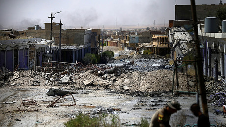 Destroyed buildings from clashes are seen, during the war between Iraqi army and Shi'ite Popular Mobilization Forces (PMF) against the Islamic State militants in Tal Afar, Iraq August 27, 2017 © Thaier Al-Sudani