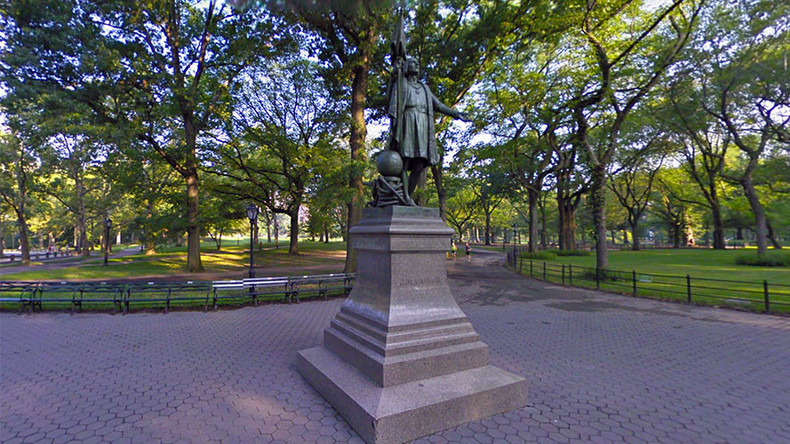 Columbus statue vandalized in New York's Central Park