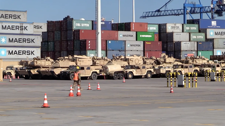 US military equipment arrives in Poland as part of NATO's 'Operation Atlantic Resolve' (VIDEO)