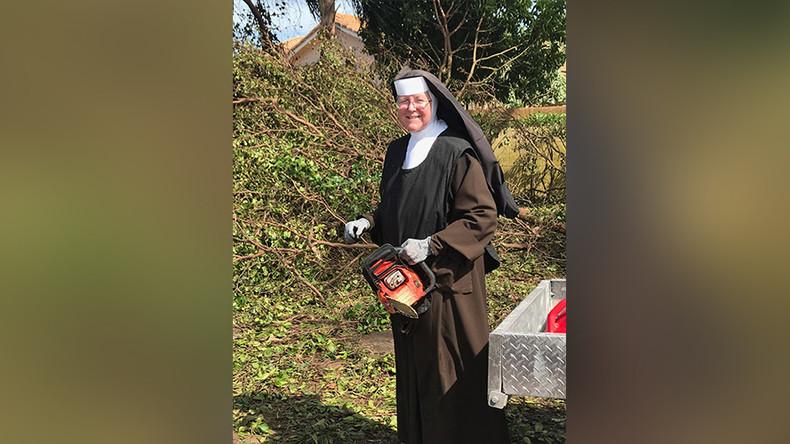Chainsaw-wielding nun helps clear Irma destruction (PHOTOS, VIDEO)