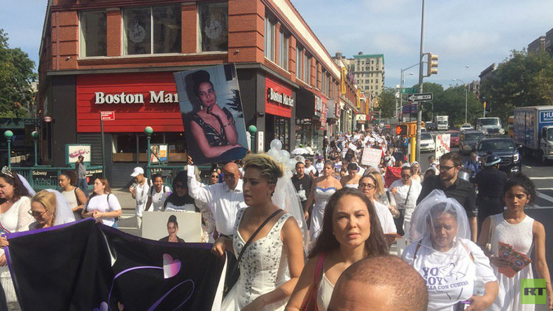 Unhappily ever after: 'Brides' march in NYC against domestic violence