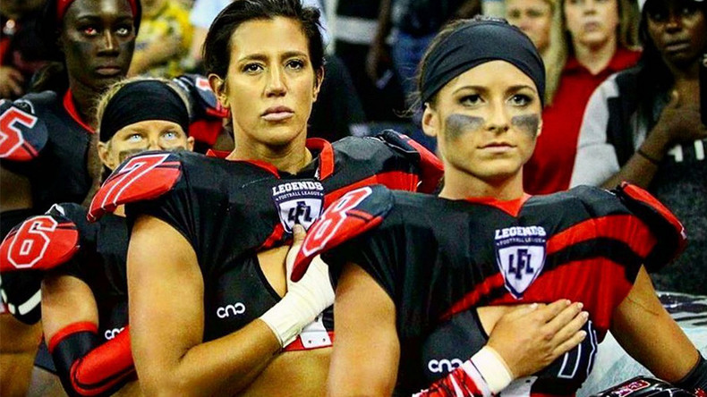'Lingerie football' players stand for anthem amid NFL #TakeAKnee protest (VIDEO)