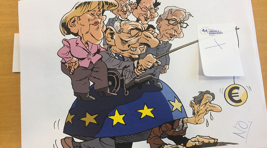 'Violent Orwellian censorship': Brussels exhibition rejects caricatures of EU leaders & policies