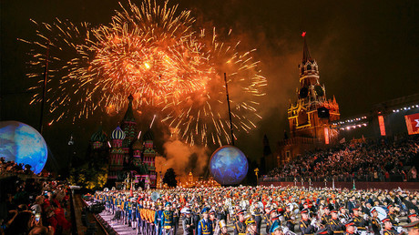 Moscow's Spasskaya Tower military band festival in Red Square