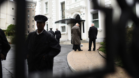 Members of the US State Department Police are seen inside the compound of the Trade Representation building of the Russian Federation on September 2, 2017 in Washington DC. ©Eric Baradat