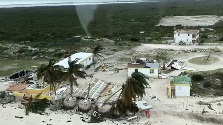 Aerial view of devastation following Hurricane Irma at Cow Wreck beach on Anegada, British Virgin Islands September 8, 2017. © Caribbean Buzz Helicopters