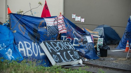 The 'Occupy ICE' camp in Portland