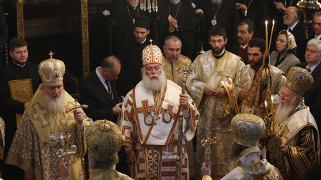 FILE PHOTO: At the invitation of the Constantinople Patriarch, heads of all Orthodox churches meet at the Greek Orthodox Patriarchate in Istanbul, on MArch 9, 2014. Murad Sezer