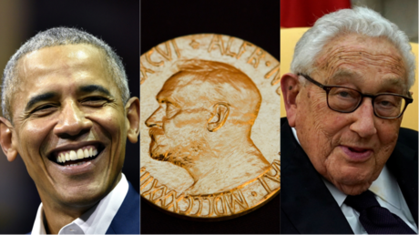 L to R: Barack Obama, the Nobel medal and Henry Kissinger © Jussi Nukari / Berit Roald / Kevin Lamarque