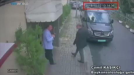 The last image of Khashoggi (right) entering the Consulate © APTN