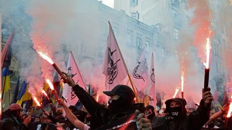 Far-right activists march through Kiev. © Sputnik / Stringer