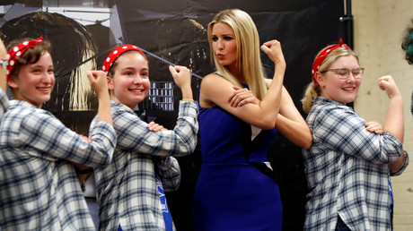 Ivanka Trump poses with members of the Girls of Steel Robotics initiative. © Reuters / Jason Cohn